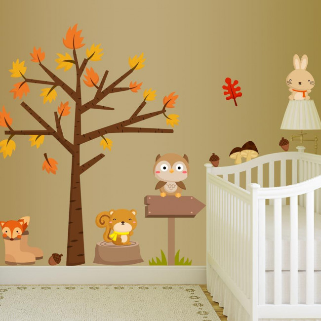 Αυτοκόλλητα τοίχου παιδικά Στο δάσος, με ζωάκια και δέντρο, χαριτωμένη παράσταση με ζωάκια και δέντρο