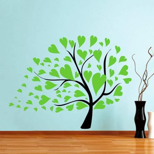 Αυτοκόλλητο τοίχου δέντρο με φύλλα καρδιές, λαχανί