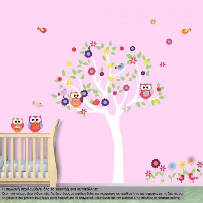 Αυτοκόλλητα τοίχου παιδικά δέντρο, κουκουβάγιες, λουλούδια και πουλάκια, Happy owls,  ανοιχτόχρωμος κορμός