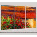 Blooming sunset, τρίπτυχος πίνακας σε καμβά, κοντινό