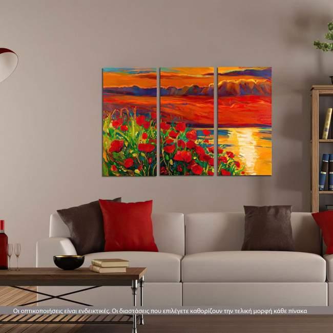 Πίνακας σε καμβά Blooming sunset, τρίπτυχος