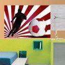 Αυτοκόλλητο τοίχου Ποδοσφαιριστής  με εντυπωσιακό φόντο κόκκινο