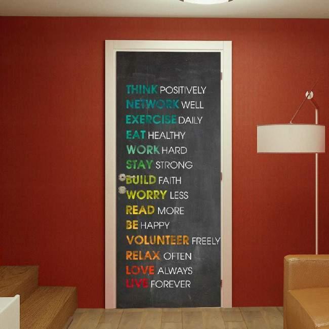 Αυτοκόλλητο πόρτας Think positively
