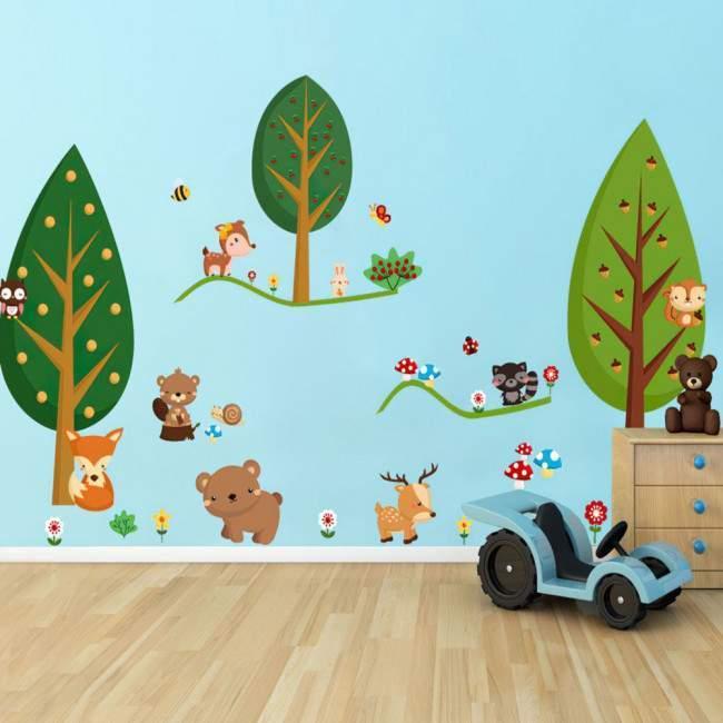 Αυτοκόλλητα τοίχου παιδικά Ζωάκια του Δάσους, τεράστια παράσταση