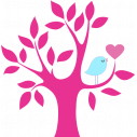 Wall stickers Heart tree and bird, lilac