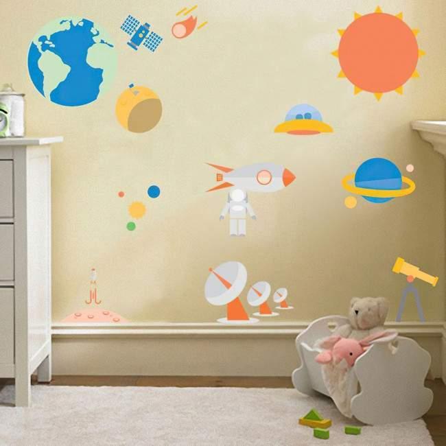 Αυτοκόλλητα τοίχου παιδικά Ηλιακό Σύστημα