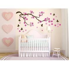 Αυτοκόλλητο τοίχου Ανθισμένη κερασιά,  λουλούδια, πεταλούδες