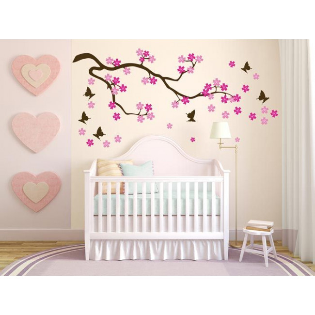 Wall stickers Flowering cherry, flowers, butterflies