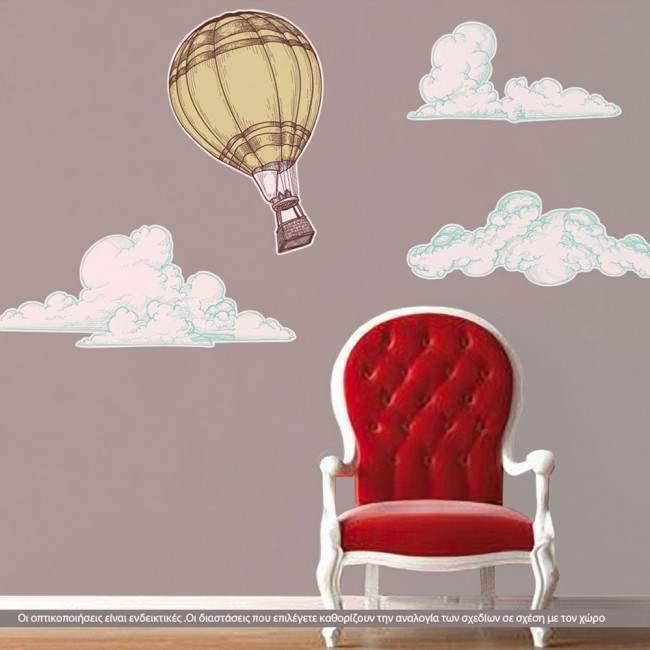 Αυτοκόλλητο τοίχου Αερόστατα , Vintage hot air balloon