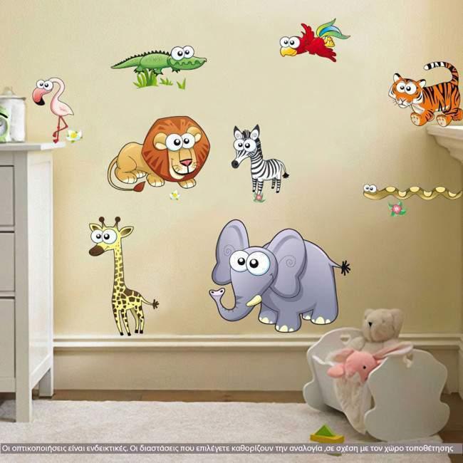Αυτοκόλλητα τοίχου παιδικά Τα Ζωάκια της Σαβάνας ,  με πολλά μεγάλα ζωάκια