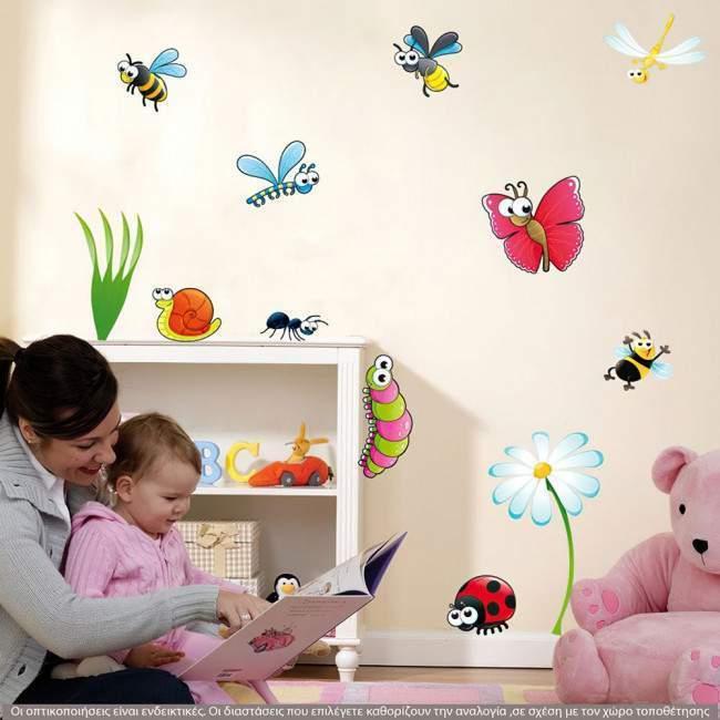 Αυτοκόλλητο τοίχου Πεταλούδα, πασχαλίτσα, μελισσούλα, μυρμηγκάκι, Bugs