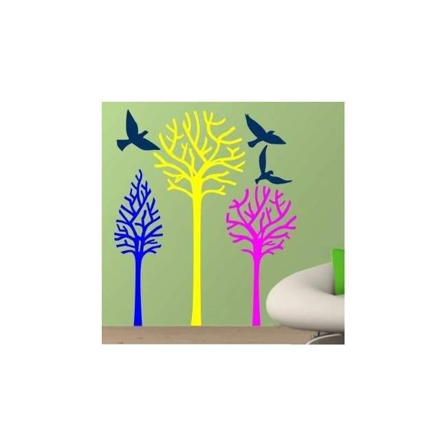 Αυτοκόλλητα τοίχου Δέντρα και πουλιά, Birds & Trees, έντονα χρώματα