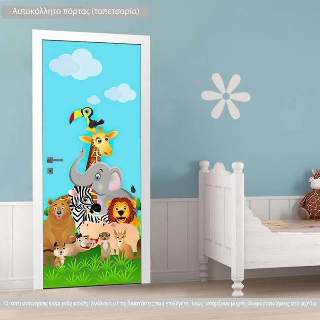 Αυτοκόλλητο πόρτας Safari animals, παιδικό