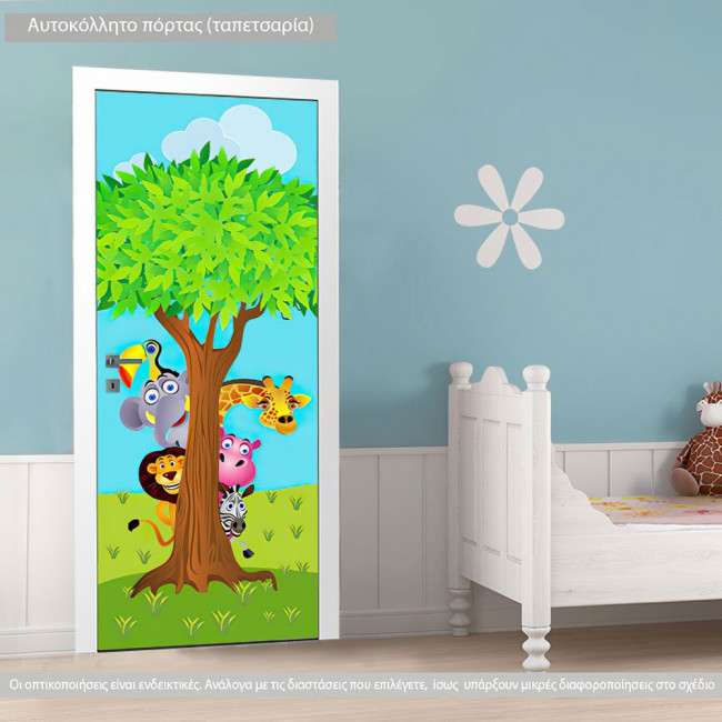 Αυτοκόλλητο πόρτας Κρυφτούλι με το δέντρο, παιδικό