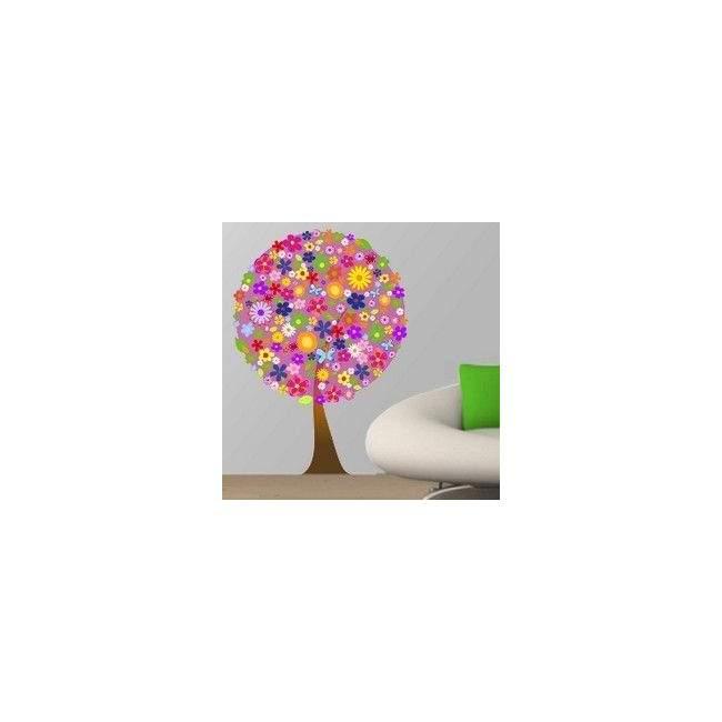 Αυτοκόλλητο τοίχου Δέντρο  από λουλούδια, λιλά φόντο