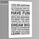 Canvas print Love one another, house rules, side