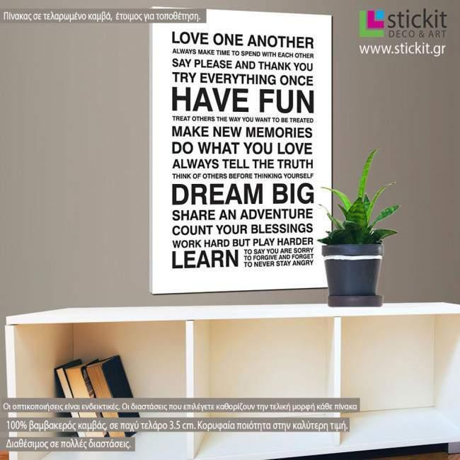 Πίνακας σε καμβά Love one another, house rules