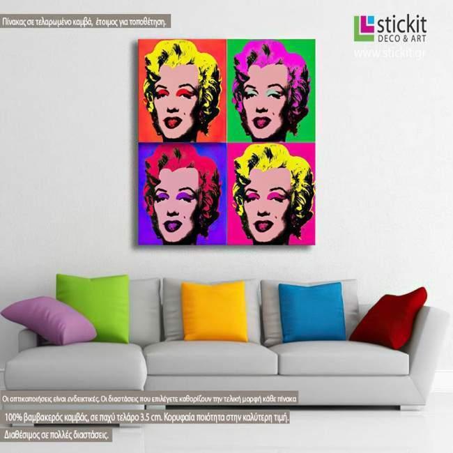 Πίνακας ζωγραφικής Marilyn Monroe pop art, αντίγραφο σε καμβά