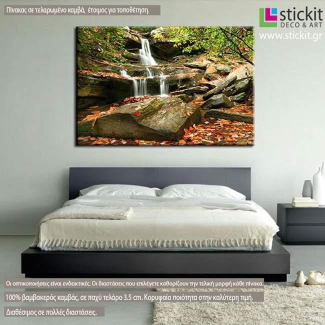 Πίνακας σε καμβά Καταρράκτης, Autumn waterfall