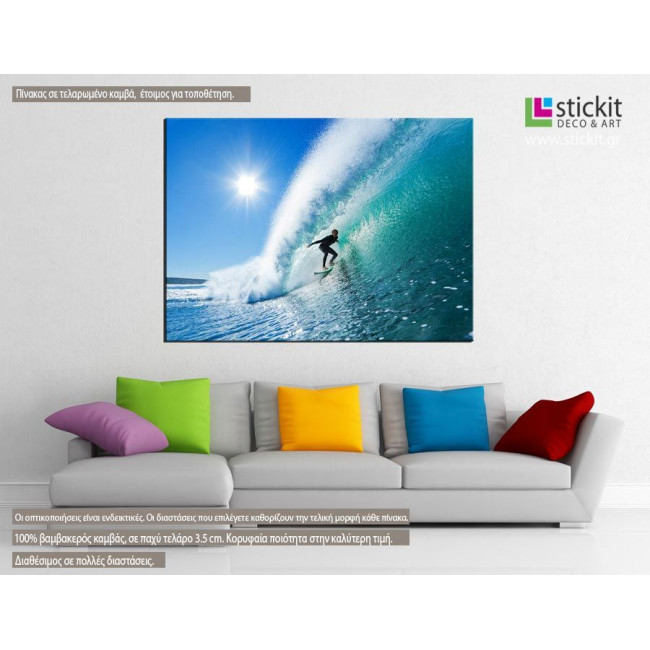 Canvas print Surfing the waves