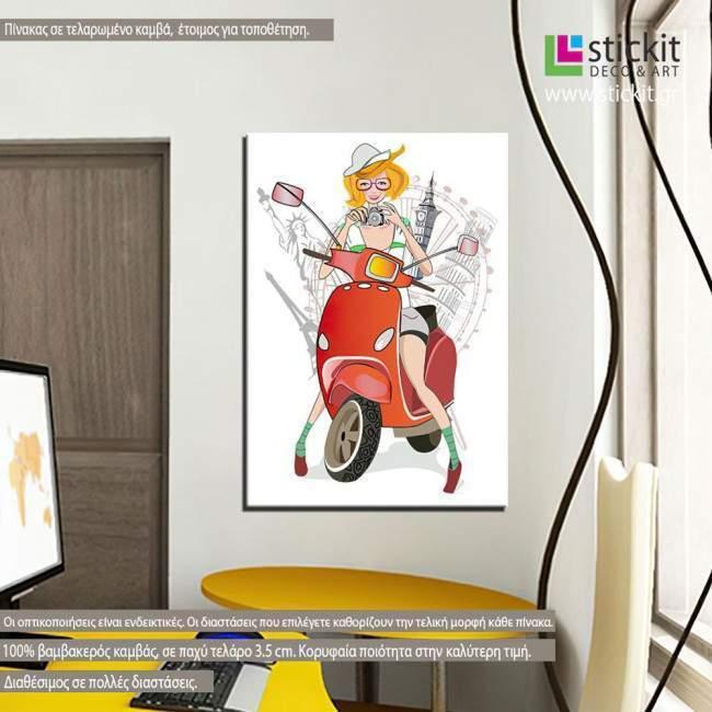Πίνακας σε καμβά σκούτερ, Traveling on a scooter