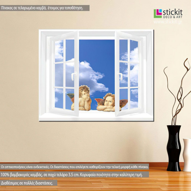 Canvas print Angels at window