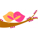Ερωτευμένα πουλιά,  αυτοκόλλητο τοίχου, κοντινό
