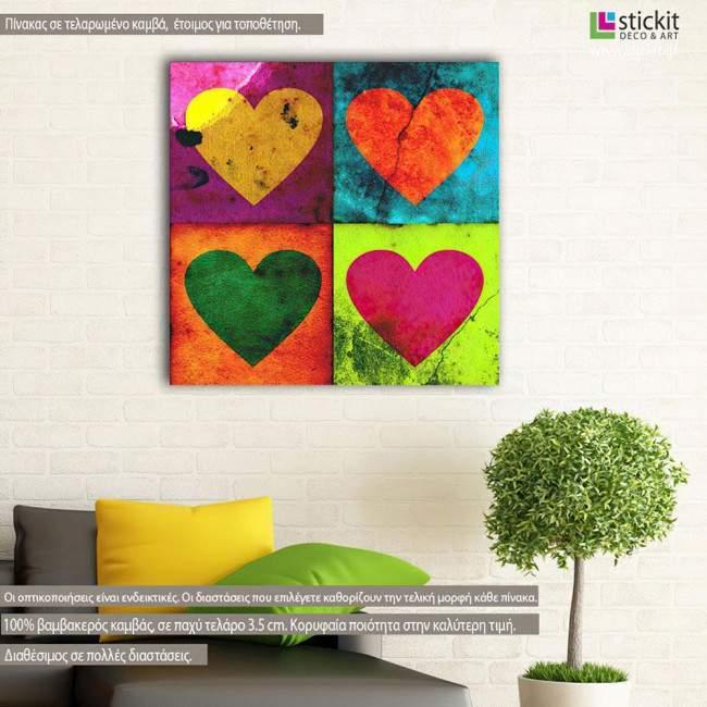 Πίνακας σε καμβά Grunge hearts