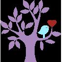 Καρδιά και πουλί σε υπέροχο συνδυασμό | Μώβ κορμός |Αυτοκόλλητο τοίχου, κοντινό