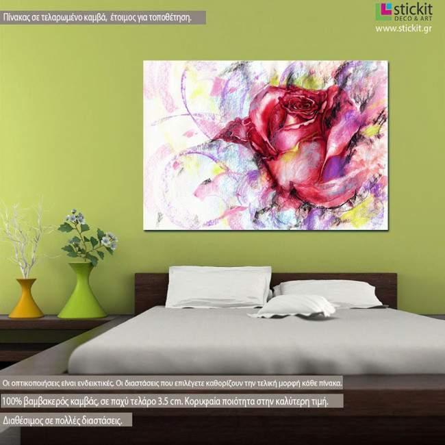 Πίνακας σε καμβά τριαντάφυλλο, Rose, fashion illustration