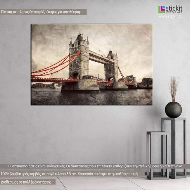 Πίνακας σε καμβά Λονδίνο, Tower bridge, vintage