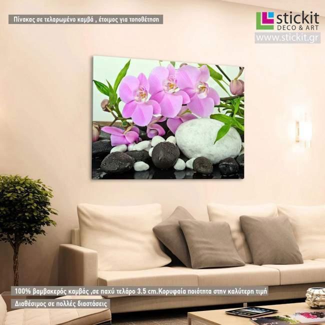 Πίνακας σε καμβά Ορχιδέες, Orchids and bamboo