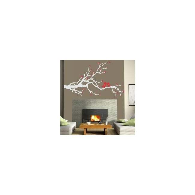 Wall stickers Birds of Love (Gray Red)