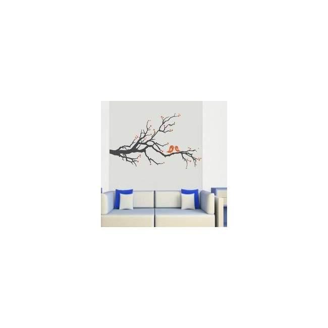 Αυτοκόλλητο τοίχου Ερωτευμένα πουλιά (Γκρι Πορτοκαλί)