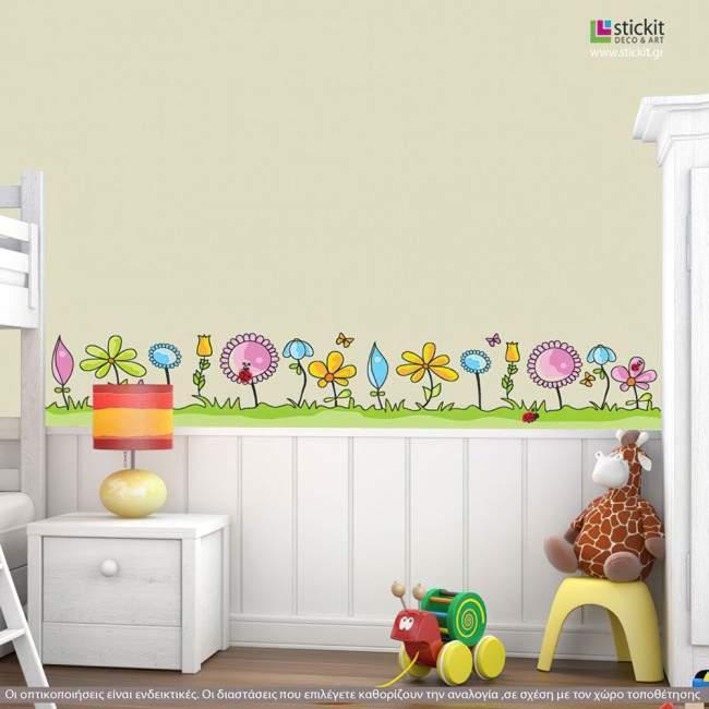 Μπορντούρα αυτοκόλλητο τοίχου, Λουλούδια, πεταλούδες και πασχαλίτσες, Ανθισμένο λιβάδι