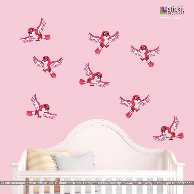 Kids wall stickers Cute birds in many colors