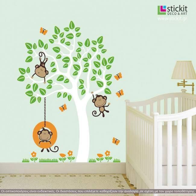 Αυτοκόλλητα τοίχου παιδικά μαϊμουδάκια και δέντρο, Monkeys Joy white, όμορφη παράσταση