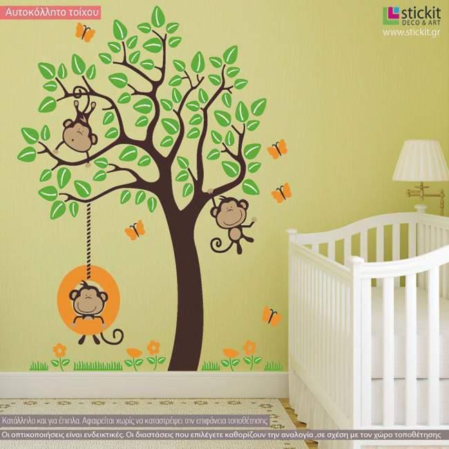 Αυτοκόλλητα τοίχου παιδικά μαϊμουδάκια σε δέντρο, Monkeys Joy