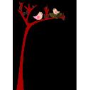 Χαριτωμένο δέντρο με φωλιά πουλιού,  αυτοκόλλητο τοίχου, κοντινό