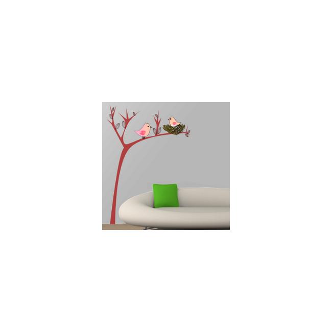 Αυτοκόλλητο τοίχου φωλιά πουλιών, Χαριτωμένο δέντρο