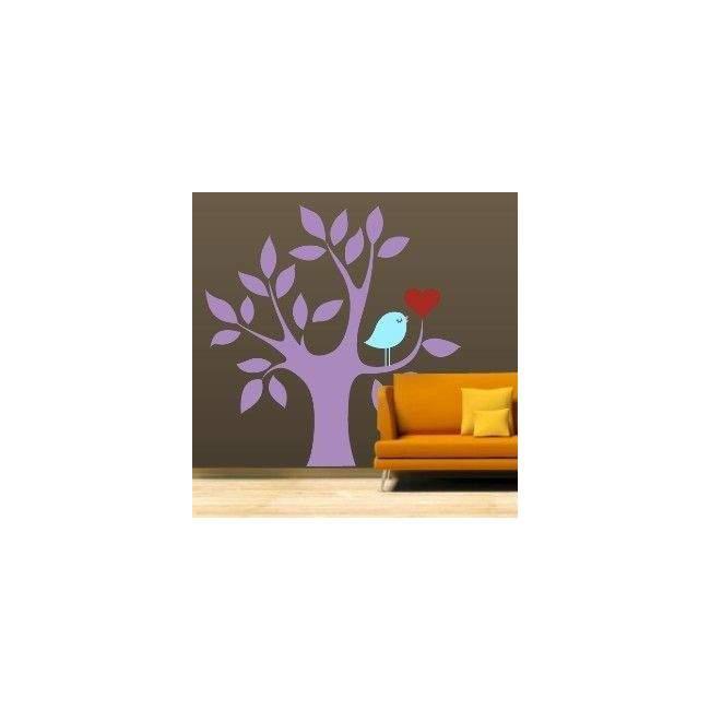 Αυτοκόλλητο τοίχου Δέντρο, καρδιά και πουλί, μωβ
