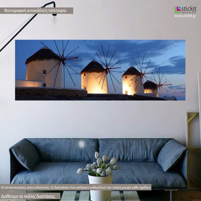 Wallpaper Mykonos, windmills