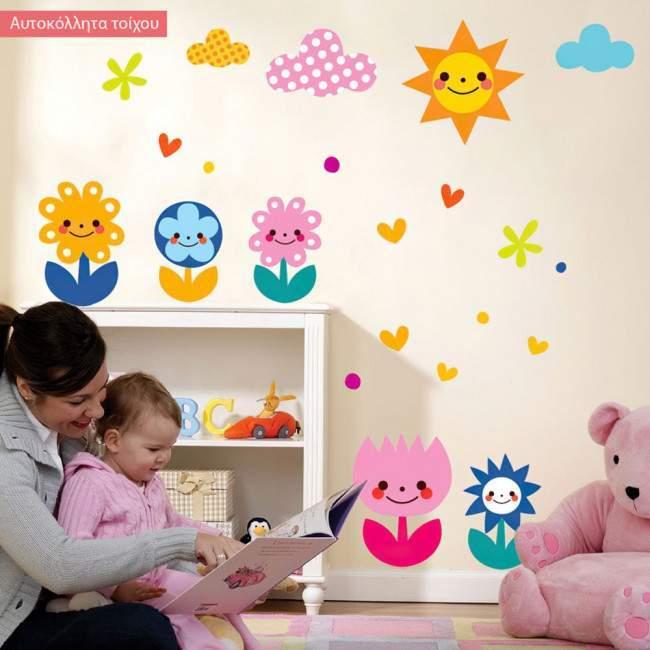 Αυτοκόλλητα τοίχου παιδικά Χαμογελαστά λουλούδια
