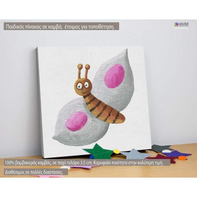 Πίνακας παιδικός σε καμβά Ζωγραφισμένη πεταλούδα (pink)