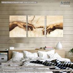 Canvas print The creation of Adam, Michelangelo,  3 panels