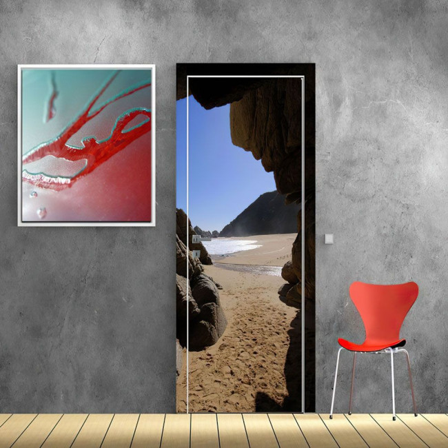 Door sticker The hidden beach