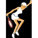 Γυναίκα Παίζει Τέννις Αυτοκόλλητο τοίχου , κοντινό