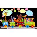 Αυτοκόλλητο τοίχου, Χαρούμενο τρένο, με τρένο και ζωάκια