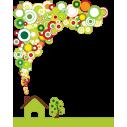 Πράσινο Σπίτι, αυτοκόλλητο τοίχου, κοντινό