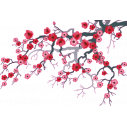 Pink blossomed branch,  αυτοκόλλητο τοίχου, κοντινό